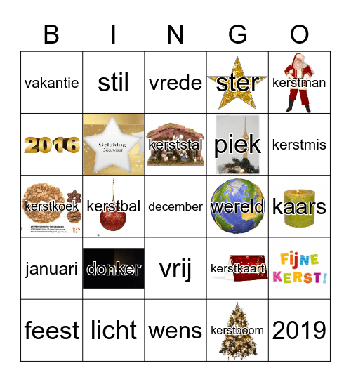Kerst Bingo Card