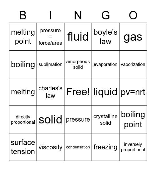 States of Matter Bingo Card