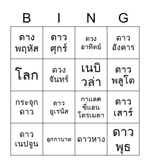 Astronomy Bingo Card