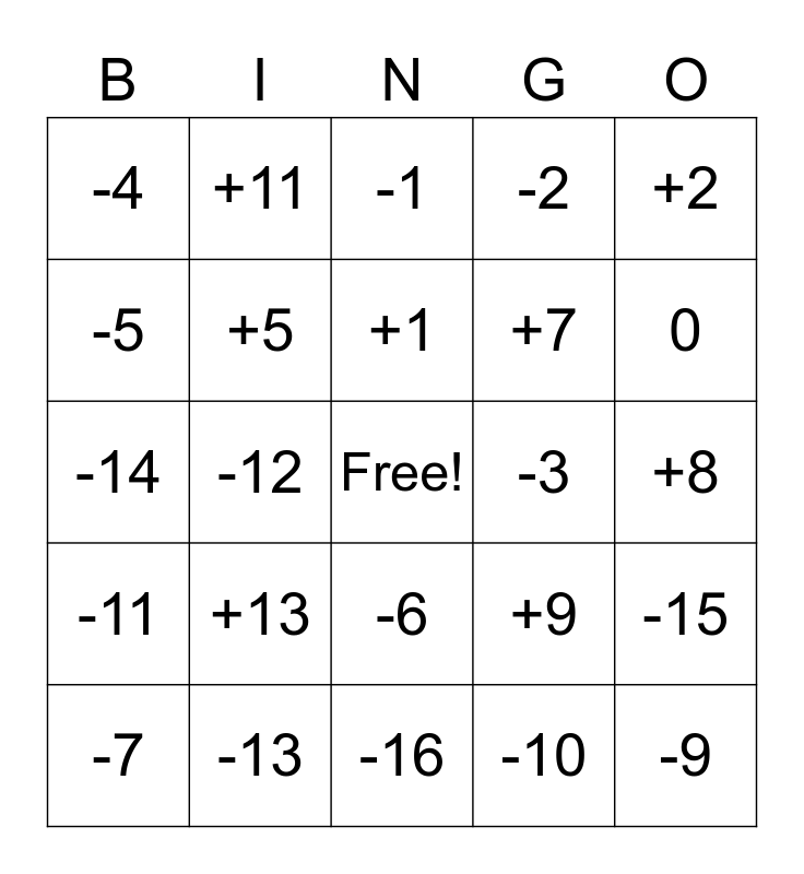 Numbers Bingo Card