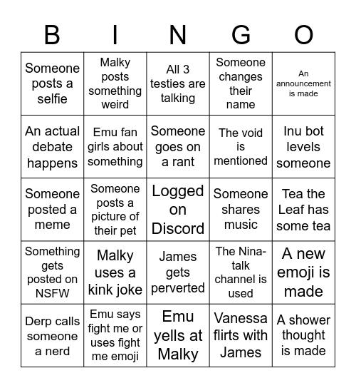 Emu's Fav Booties Bingo Card
