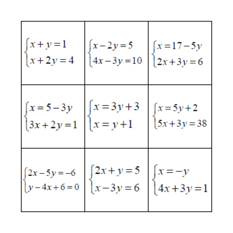 Simultaneous Equation Bingo Card