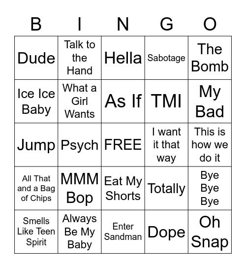 Bingo 90s, Bingo Card