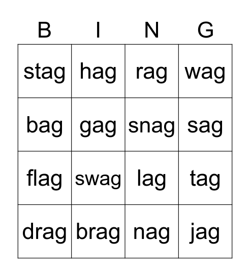 -ag Word Bingo #2, -ag Word Bingo #3, -ag Word Bingo #1, -ag Word Bingo #4 Bingo Card