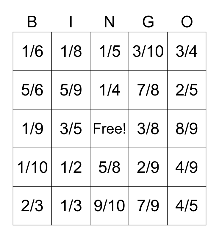 Fraction Bingo Card
