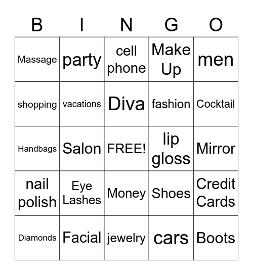 Diva Bingo, Cruisin Divas Bingo, Crusin Divas Bingo Card