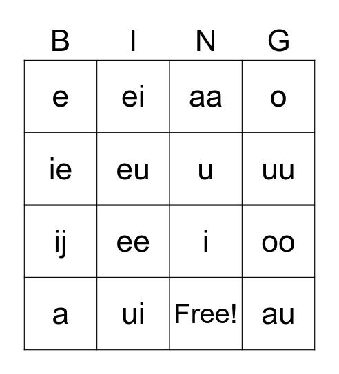 Letters Bingo Card