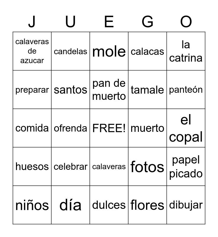 Día de los muertos Bingo Card