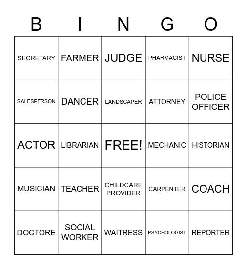 CAREERS Bingo Card