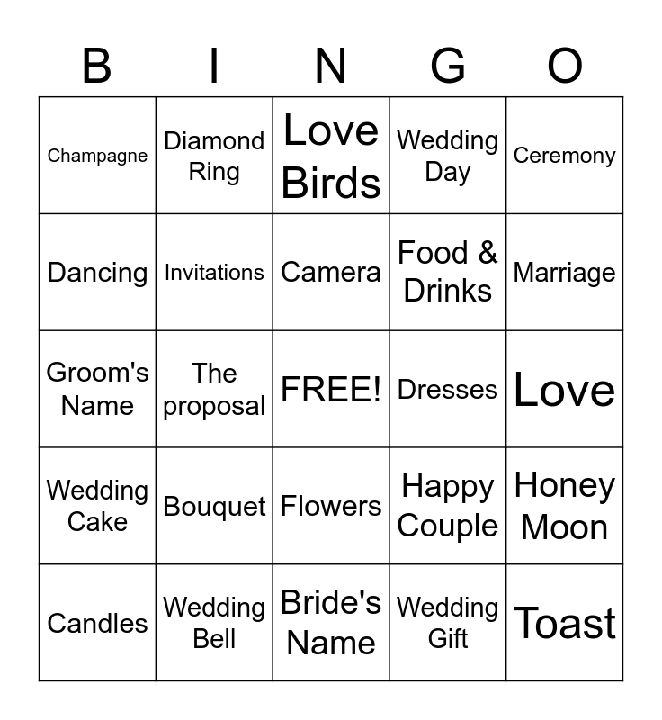 BINGO, WEDDING BING, Bridal Shower Bingo Card