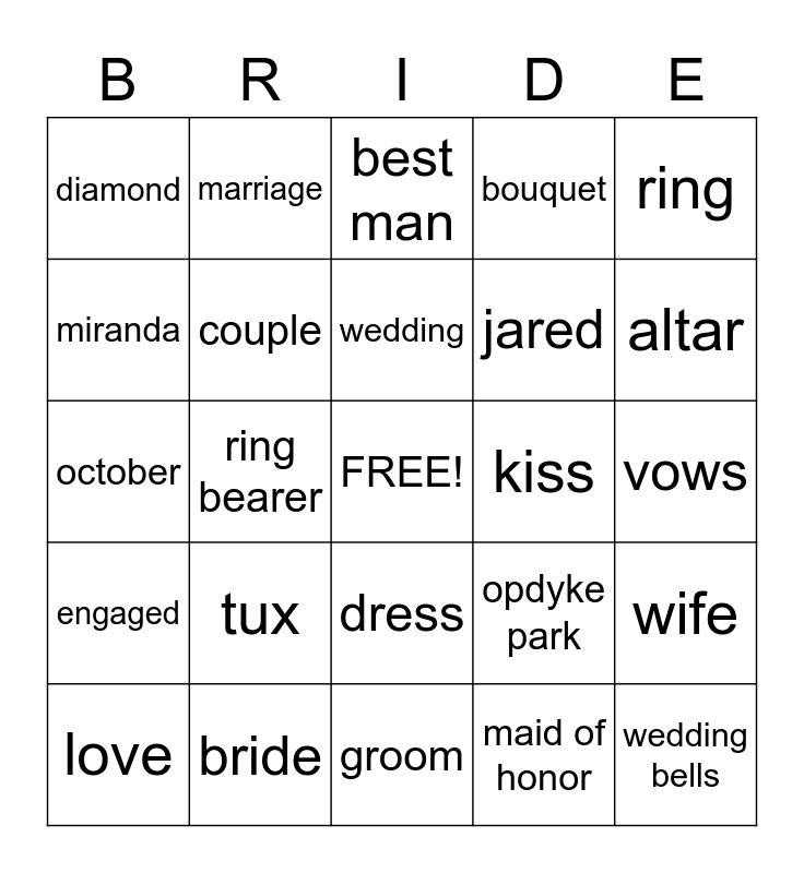 Bridal Shower Bingo! Bingo Card