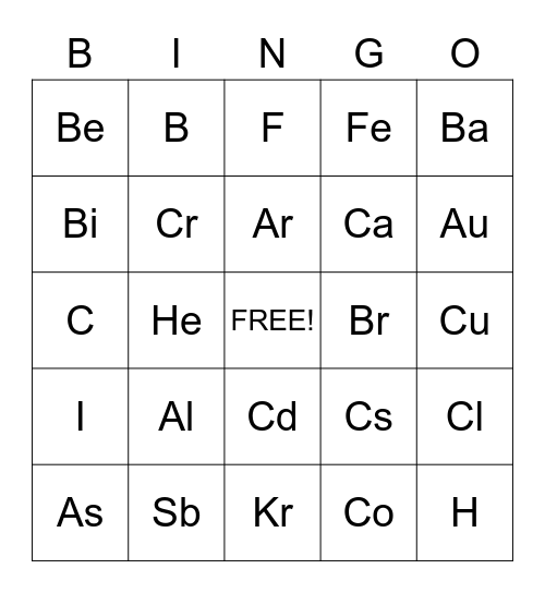 Element Bingo, Symbols, Element Bingo (symbols), TEAM RAPTOR!!! (CALOB) =] Bingo Card