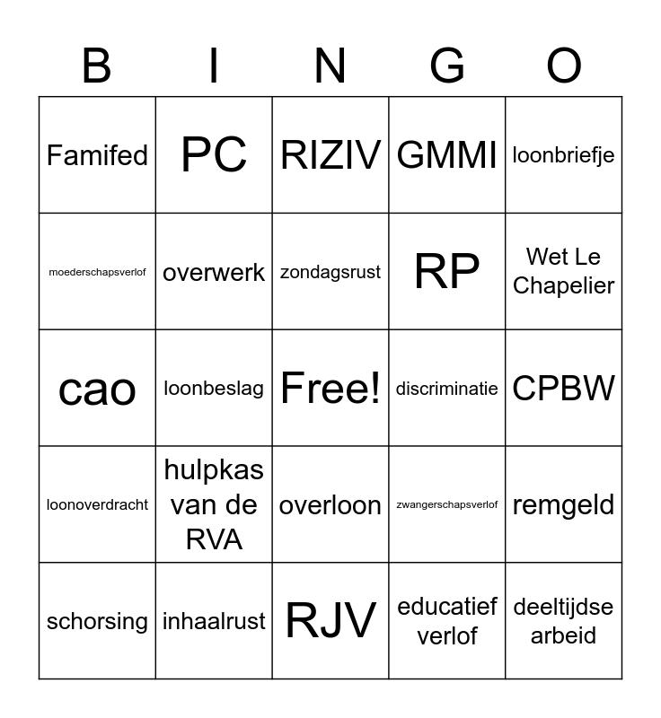 Sociaal recht Bingo Card