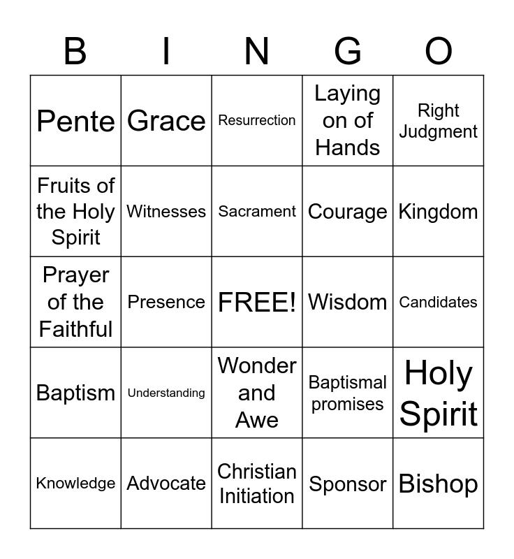 Confirmation Bingo Card