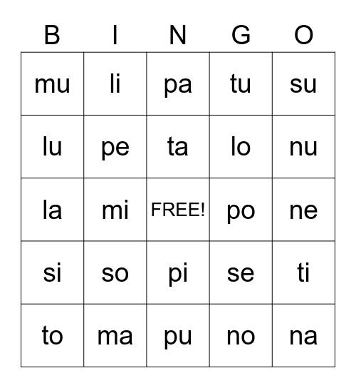 Spanish Syllables Bingo Card