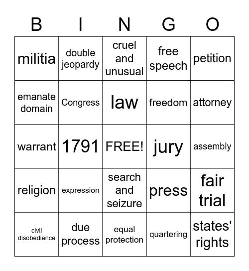 Bill of Rights Bingo Card