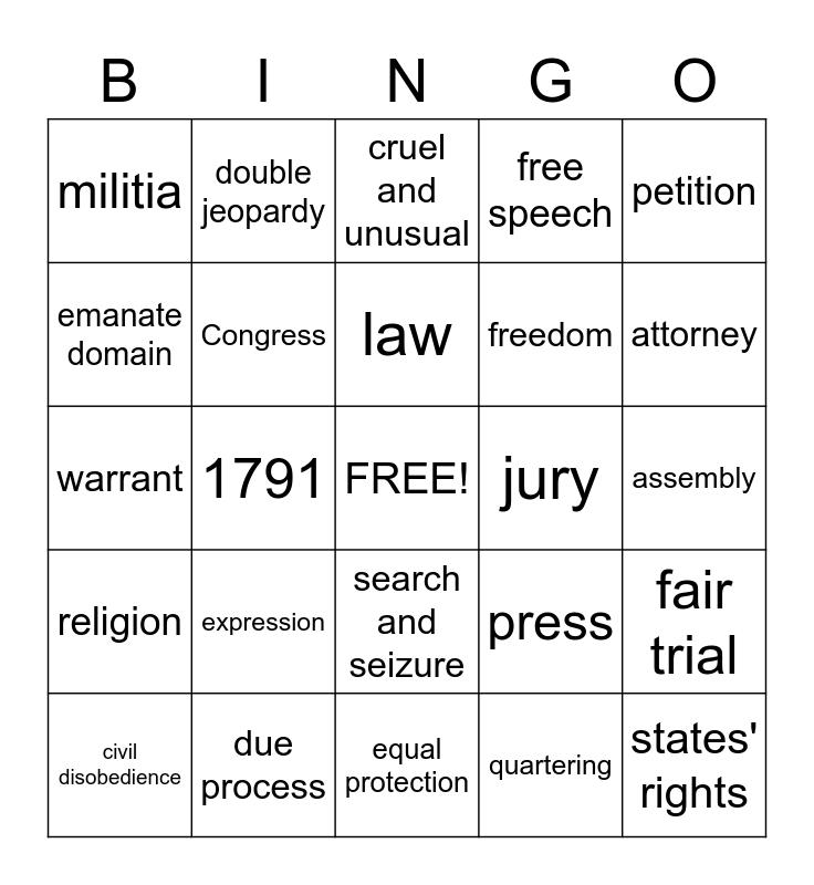 Bill of Rights Bingo Card
