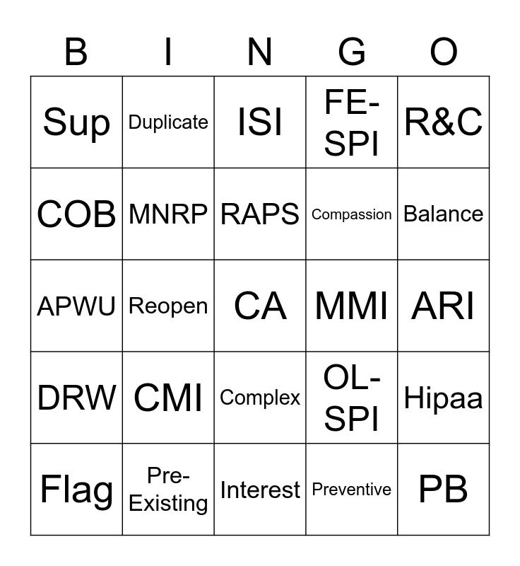 RRE Competency Bingo Card