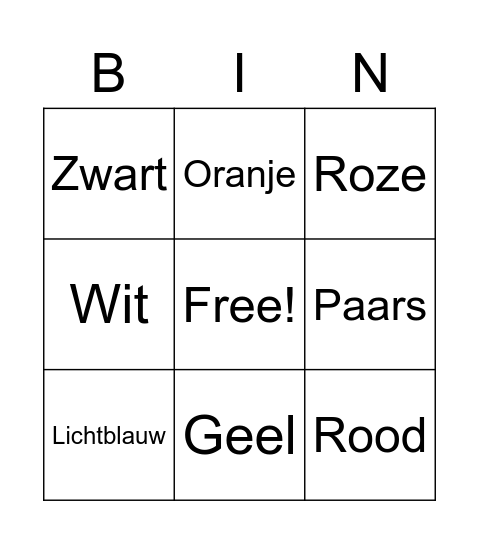 Dutch Colors Bingo Card