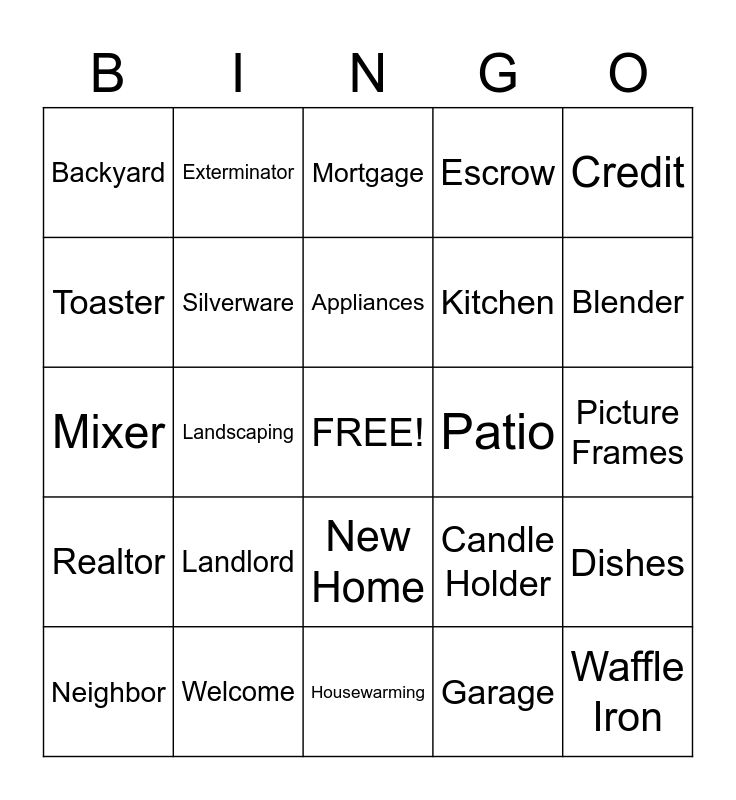 Housewarming Bingo Card