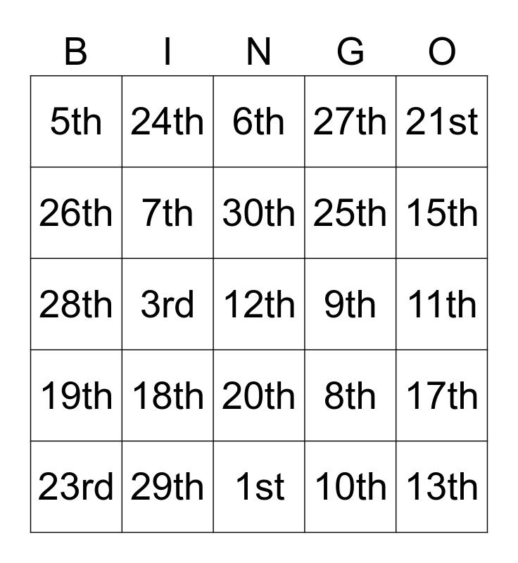 Ordinal Numbers Bingo Card