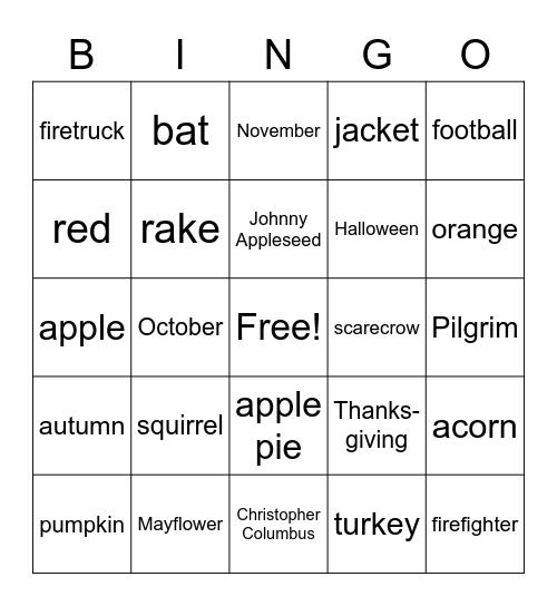 Fall Bingo Card