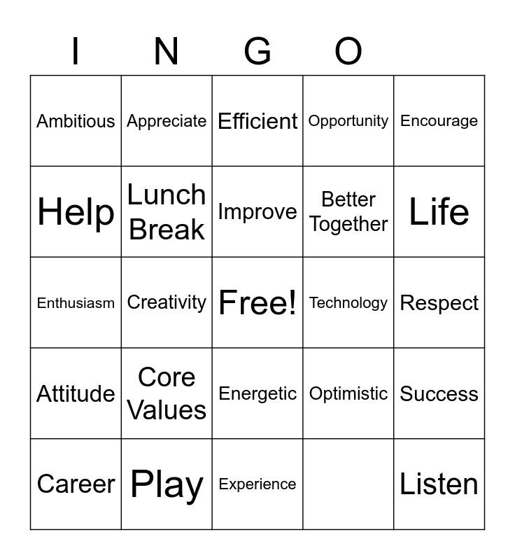 Teamwork Bingo Card