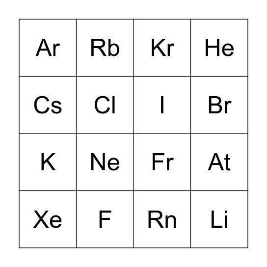 Chemical Element Bingo Card