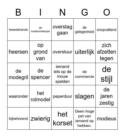 woordenschat thema 3, Woordenschat Thema 3 Bingo Card