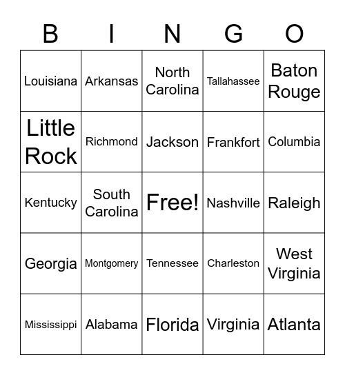 Southeast Region States and Capitals Bingo Card