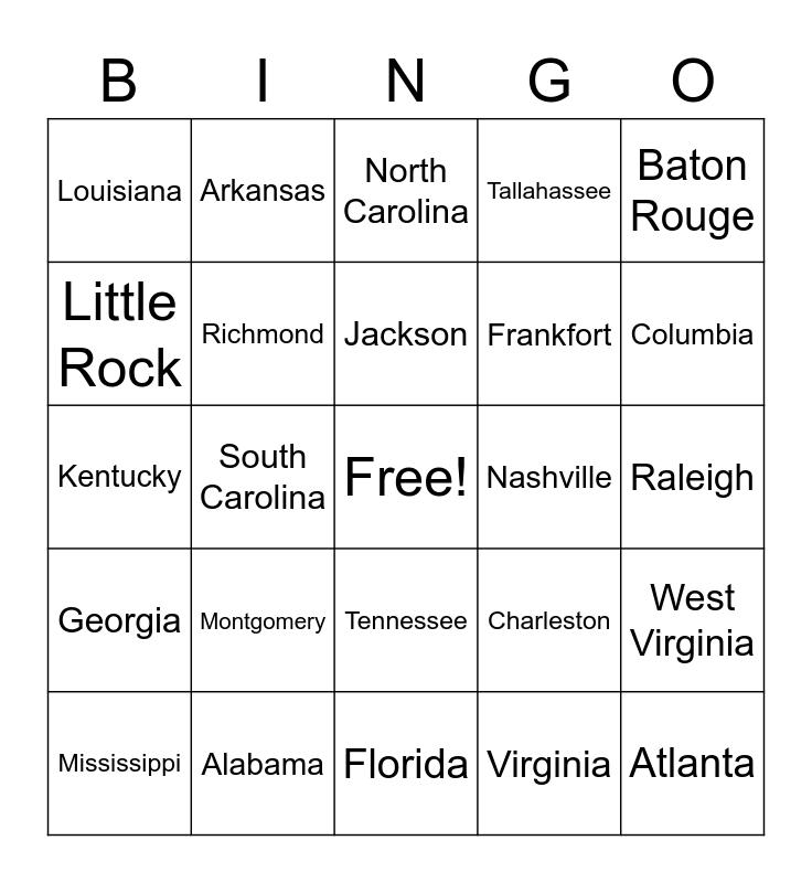 Southeast Region States and Capitals Bingo Card