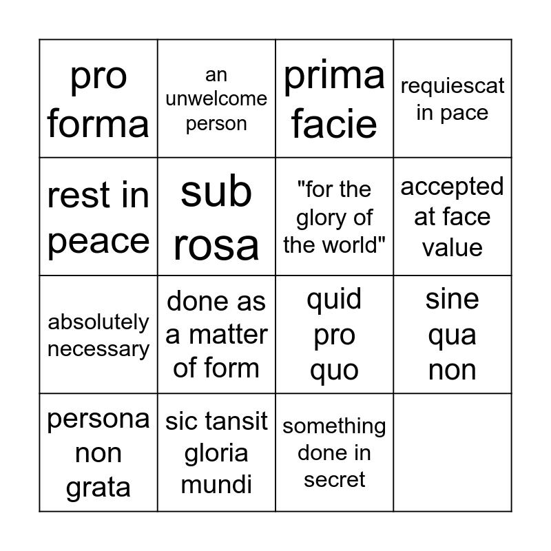 Latin Phrases list 2 Bingo Card