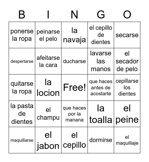 Spanish Personal Hygiene Bingo Card
