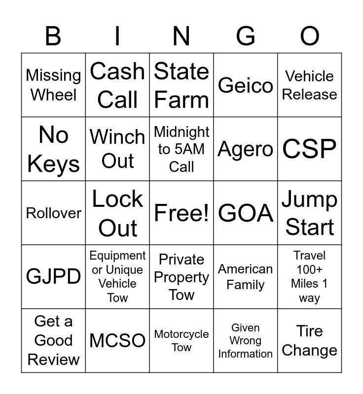 Dan's Towing Bingo Card