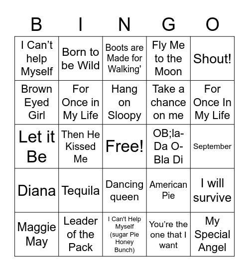 NBSA PTSA SINGO 50's TO 70's Bingo Card