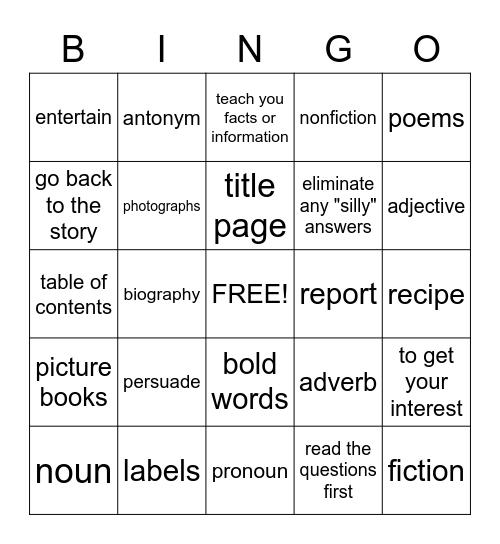 Reading and Language Arts Bingo Card