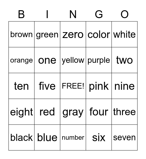 Color and Number Words Bingo Card