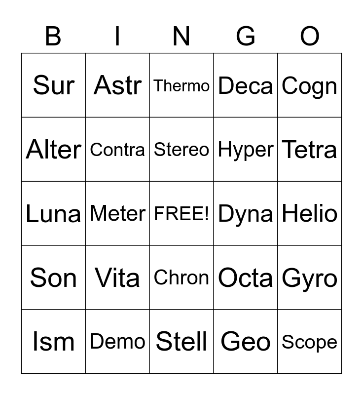 Stem Words Bingo Card
