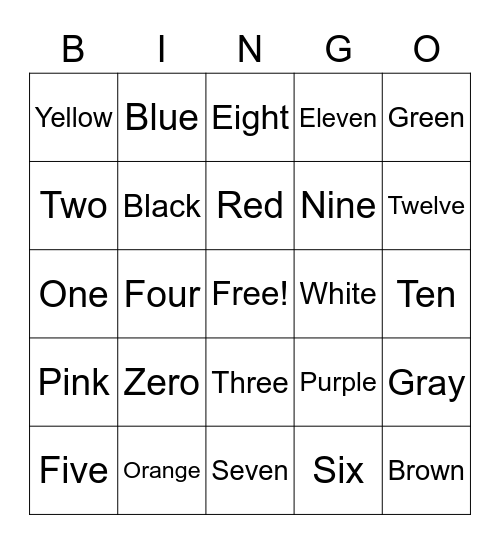 Color and Number Words Bingo, COLOR AND NUMBER WORDS, colors and numbers, Color and Number Words, Sight Words Bingo Card