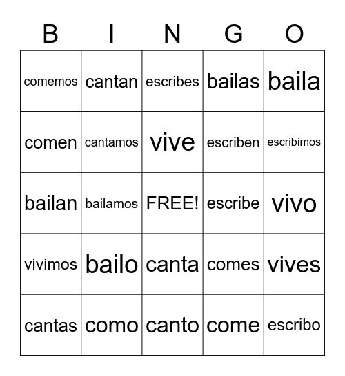 -AR -ER and -IR Endings and Conjugations Bingo Card