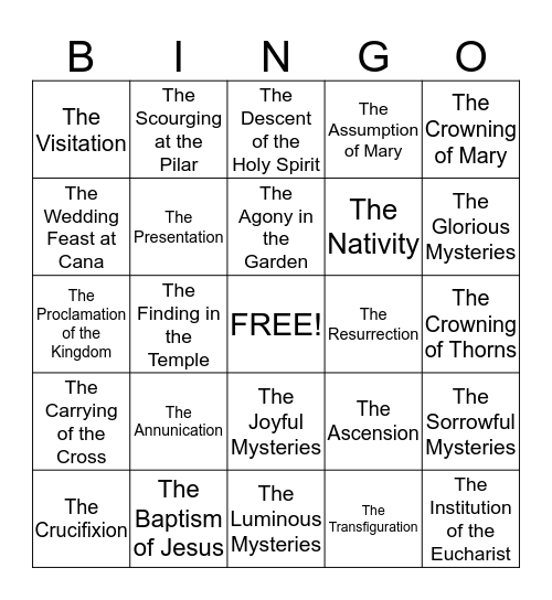 The Mysteries of the Rosary Bingo Card