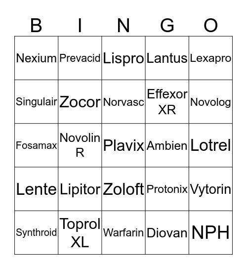 NURSING STUDENT MEDICATION Bingo Card