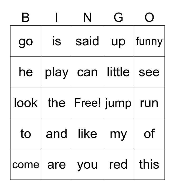 White List, PrePrimer 1 Sight Words, Dolch Sight Words PPI, Pre-Primer Bingo Card