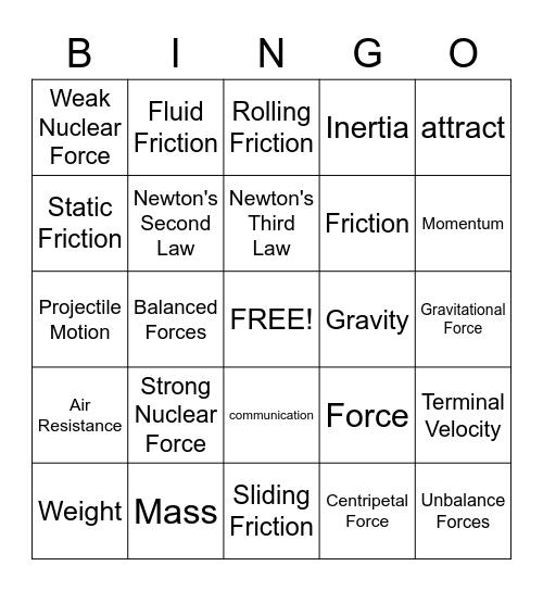Forces Bingo Card
