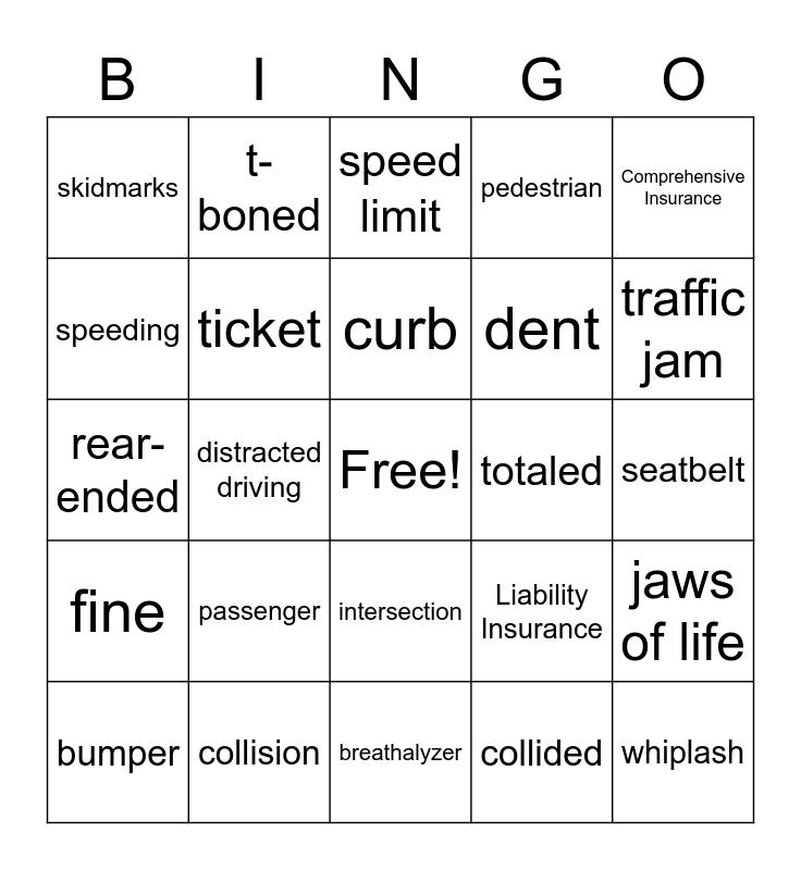 Car Accident Vocabulary Bingo Card
