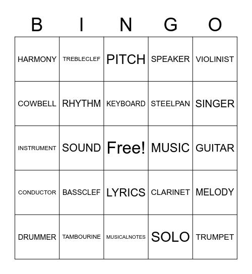 Orchestra Bingo Card