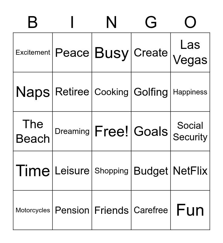 Retirement Bingo Card