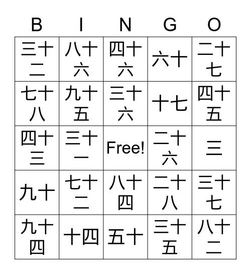 Chinese Numbers 1-100 (Characters)  Bingo Card