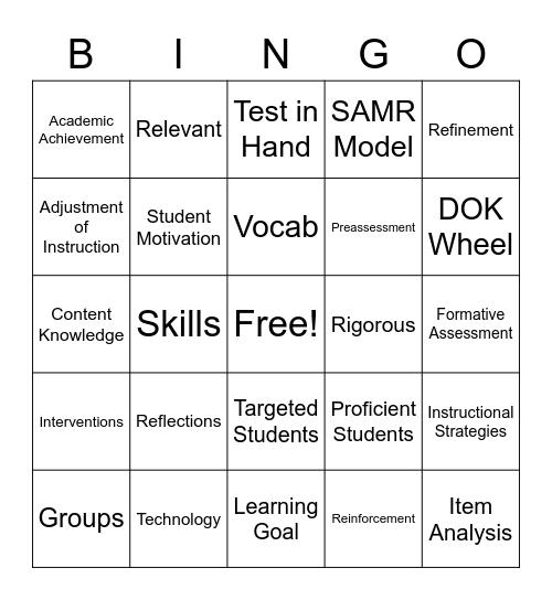 Teaching Bingo Card