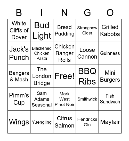 Cooking Bingo Card